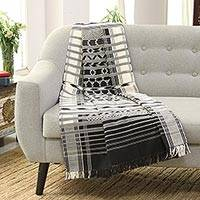 Cotton throw, 'Monochrome Symmetry' - Cotton Striped Throw from India