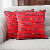 Cotton cushion covers, 'Desert Ruby' (pair) - Indian Embroidered Cushion Cotton Covers