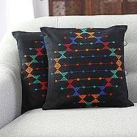 Cotton cushion covers, 'Festival Galaxy' (pair) - Cotton Patterned Cushion Covers from India (Pair)
