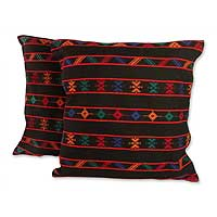 Cotton cushion covers, 'Desert Night' (pair) - Multicolor Cotton Cushion Covers from India (Pair)