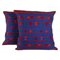 Cotton cushion covers, 'Desert Sapphire' (pair) - Hand Woven Cotton Cushion Covers
