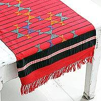 Cotton table runner, 'Festive Constellations' - Cotton Table Runner Red Handmade India