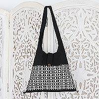 Cotton sling tote, 'Diamond Light' - Embroidered Cotton Shoulder Bag