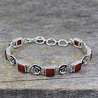 Carnelian floral bracelet,