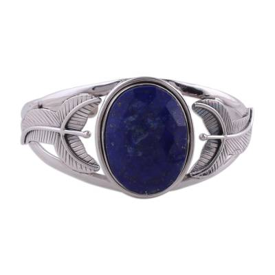 Handcrafted Sterling Silver Cuff Bracelet with Lapis Lazuli