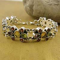 Amethyst and garnet wristband bracelet, 'Rainbow Sparkle'