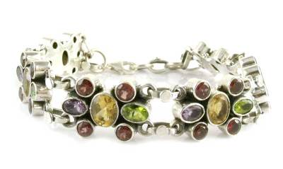 Handcrafted Sterling Silver with Natural Gems Bracelet