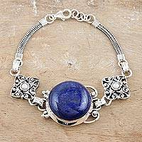 Lapis and pearl pendant bracelet, 'India Sky' - Sterling Silver and Lapis Lazuli Bracelet