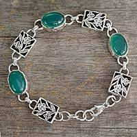 Featured review for Sterling silver floral bracelet, Summer Green