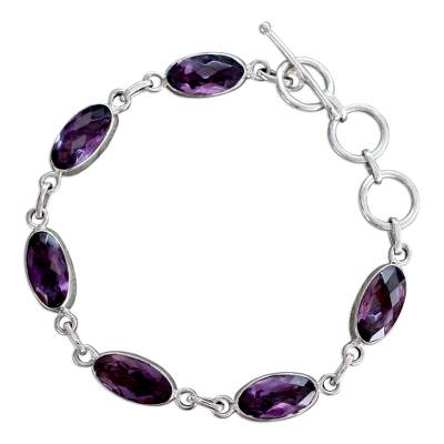 Unique Sterling Silver and Amethyst Link Bracelet