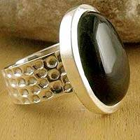 Onyx solitaire ring, Perfect Night