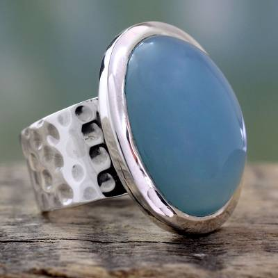 short silver necklace - Sterling Silver Single Stone Chalcedony Ring
