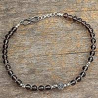 Smoky quartz anklet, 'Harmony' - Handcrafted Sterling Silver Beaded Quartz Anklet