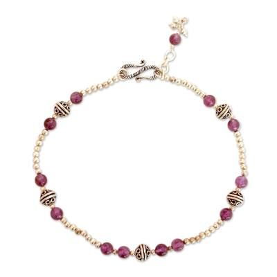 Amethyst Beaded Anklet Sterling Silver Indian Jewelry