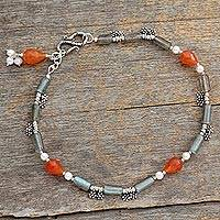 Labradorite and pearl anklet,
