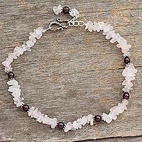 Rose quartz and garnet anklet, 'All About Love' - Handcrafted Fair Trade Rose Quartz Bracelet