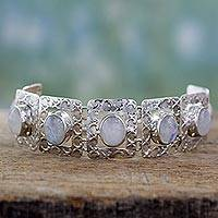 Moonstone link bracelet, 'Hypnotic Intuition' -  Moonstone and Sterling Silver Bracelet jewellery from India