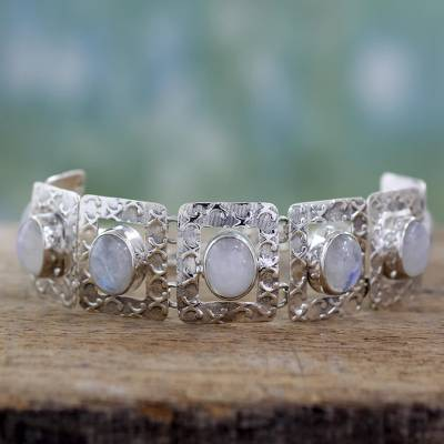 Moonstone link bracelet, 'Hypnotic Intuition' -  Moonstone and Sterling Silver Bracelet Jewelry from India