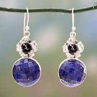 Lapis lazuli flower earrings,