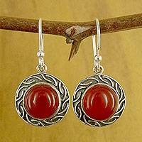 Carnelian dangle earrings, Delicious Elegance