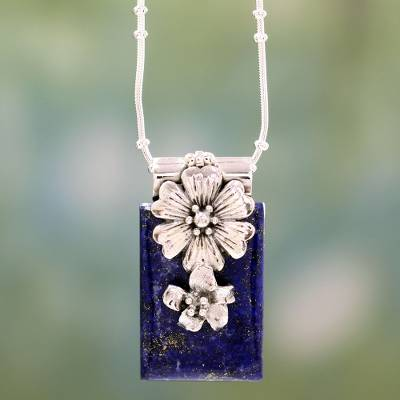 Lapis lazuli flower necklace, 'Blue Lily' - Sterling Silver and Lapis Lazuli Necklace Women's Jewelry