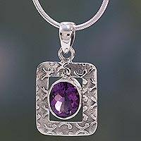 Amethyst pendant necklace, 'Hypnotic Intuition' - Amethyst Necklace in Sterling Silver from India Jewelry