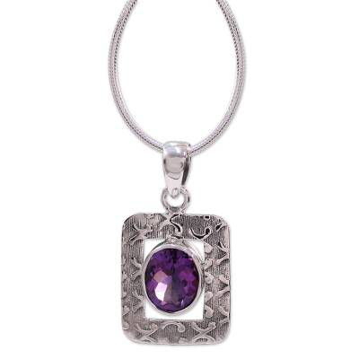 Amethyst Necklace in Sterling Silver from India Jewelry
