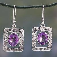 Amethyst dangle earrings, Hypnotic Intuition