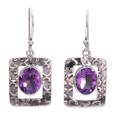 Amethyst Earrings from India Sterling Silver Jewelry
