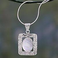 Moonstone pendant necklace, 'Hypnotic Intuition' - Sterling Silver and Moonstone Necklace Artisan Jewelry