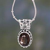 Smoky quartz pendant necklace, 'Elegant Mystique' - Smoky Quartz Medallion in Sterling Silver Necklace