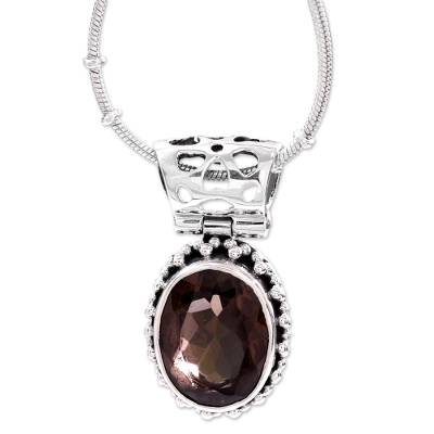 Smoky Quartz Medallion in Sterling Silver Necklace