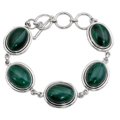 Unique Dark Green Malachite Sterling Silver Oval Link Bracelet