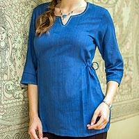 Cotton tunic, 'Indigo Flirt' - Fair Trade Cotton Solid Tunic Top