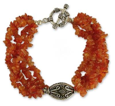 Carnelian torsade bracelet