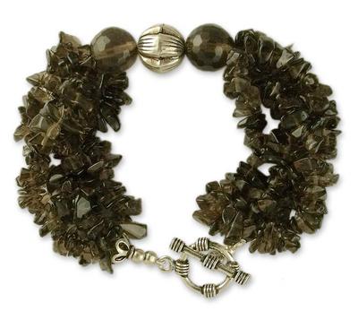 Smoky quartz torsade bracelet