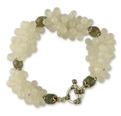 Rainbow Moonstone and labradorite bracelet