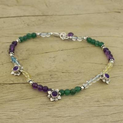 Amethyst and peridot anklet, 'Purple Crocus' - Silver Flowers on Multi-gem Anklet from India Jewelry