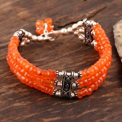 Carnelian beaded bracelet, Glow of Love