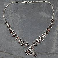 Garnet floral necklace, 'Scarlet Garland' - Floral Jewelry Sterling Silver Garnet Necklace