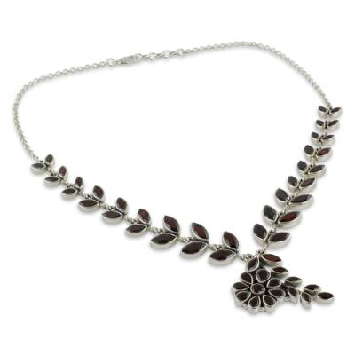 Floral Jewelry Sterling Silver Garnet Necklace