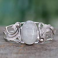 Rainbow moonstone cuff bracelet, 'Eternal Glow' - Sterling Silver Bracelet with Moonstone