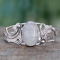 Rainbow moonstone cuff bracelet, 'Eternal Glow'