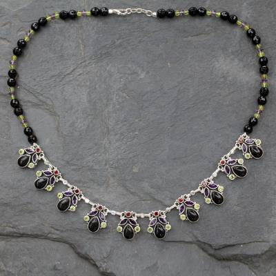 Onyx and amethyst waterfall necklace, 'Abundance' - Onyx and Multigem Sterling Silver Waterfall Necklace