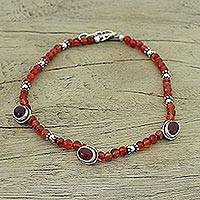 Carnelian anklet, 'Life and Love' - Sterling Silver Beaded Carnelian Anklet