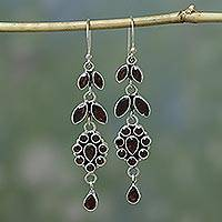 Garnet flower earrings, 'Red Rose' - Handcrafted Floral Sterling Silver and Garnet Earrings