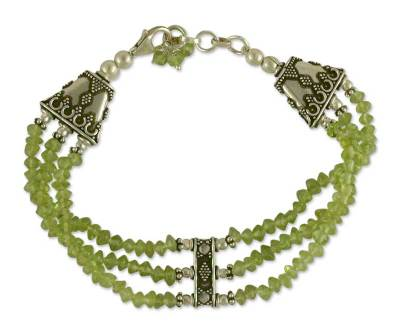 Handcrafted Peridot Bracelet with Sterling Silver