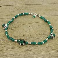 Beaded anklet, 'Life and Love' - Sterling Silver Green Agate Anklet Hand Crafted in India