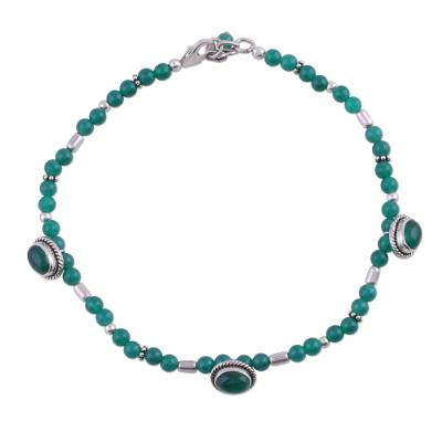 Sterling Silver Green Agate Anklet Hand Crafted in India