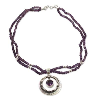 Indian Jewelry Sterling Silver Beaded Amethyst Necklace